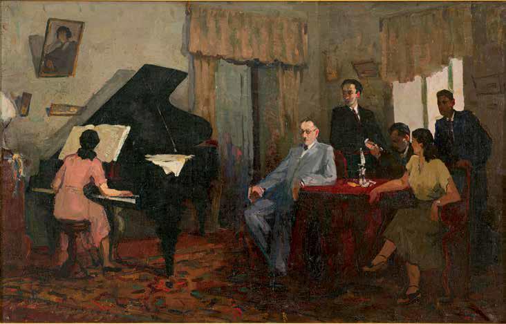 «У. Гаджибеков с азербайджанскими композиторами» 1946 г., Самедова Ваджия.